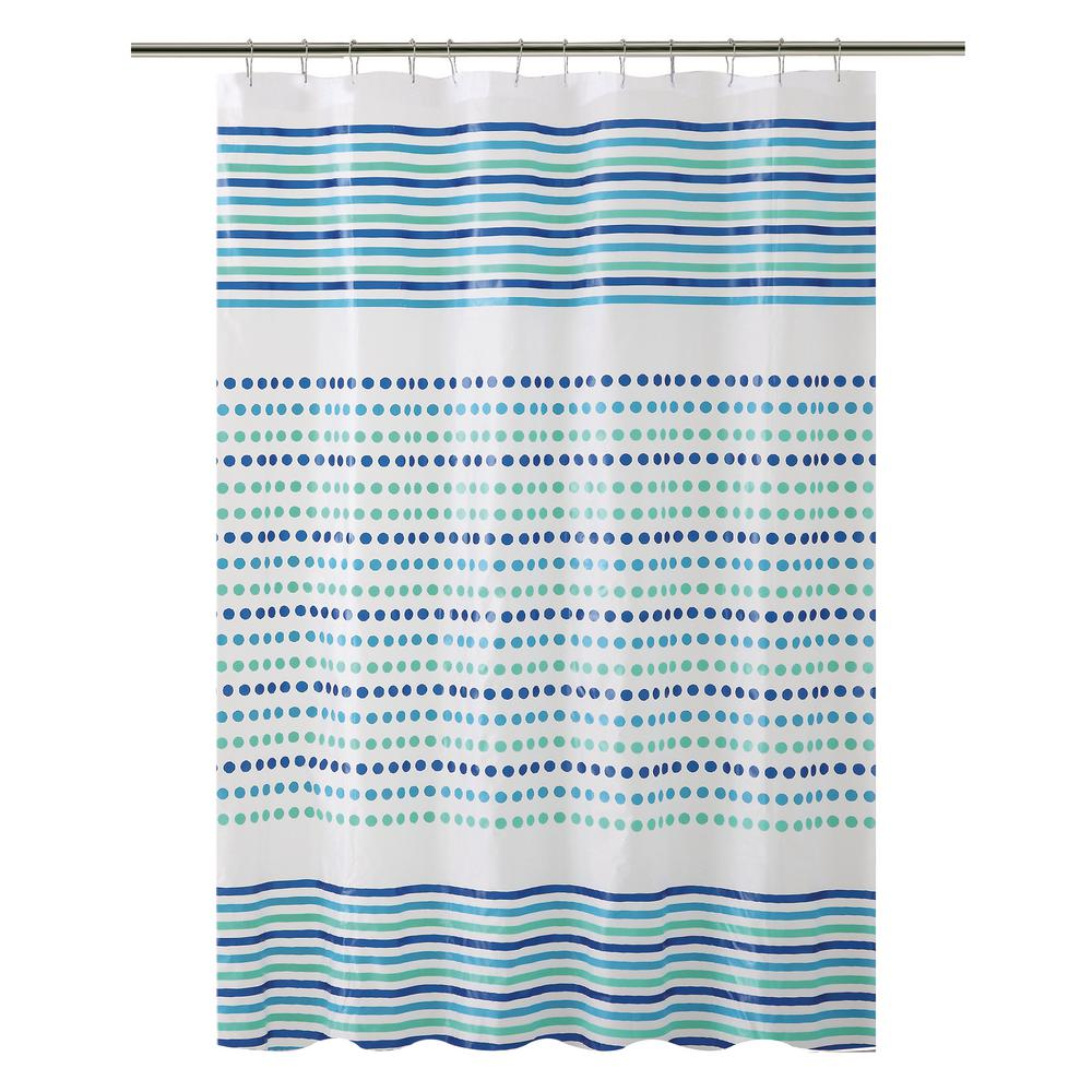 Bath Bliss PEVA 70 in. x 72 in.  Blue and Green Dot/Stripe Design  Shower Curtain