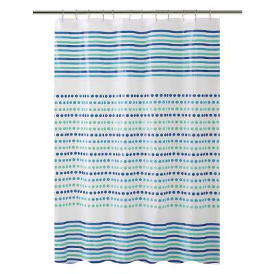 PEVA 70 in. x 72 in.  Blue and Green Dot/Stripe Design  Shower Curtain