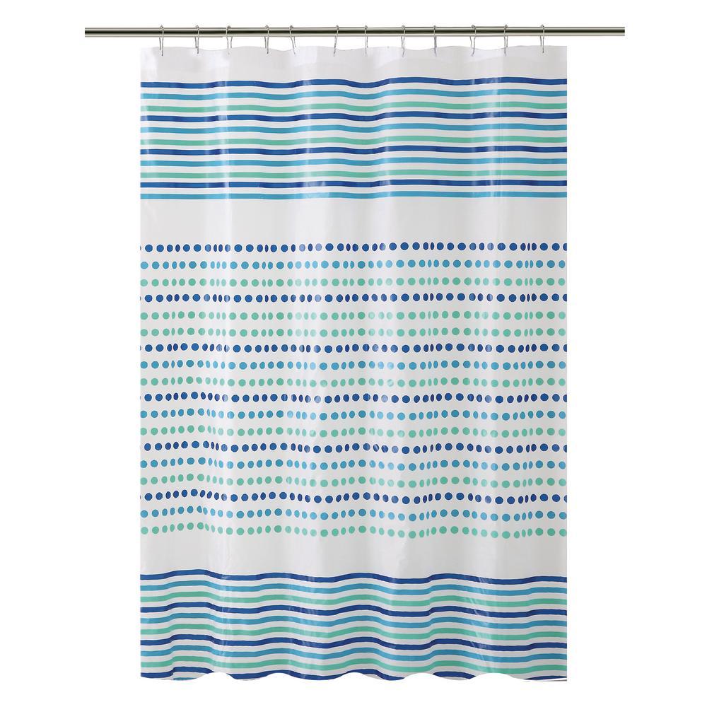 PEVA 70 in. x 72 in.  Blue and Green Dot/Stripe Design  Shower Curtain