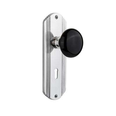 Deco Plate with Keyhole 2-3/8 in. Backset Bright Chrome Privacy Black Porcelain Door Knob