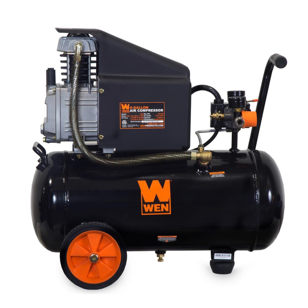6 Gal Oil-Lubricated Portable Horizontal Air Compressor