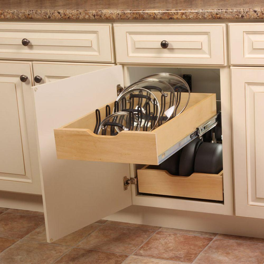 Kitchen Lid Cabinet Organizer Pull Out Drawer Rack Shelf Pan Pot Slide