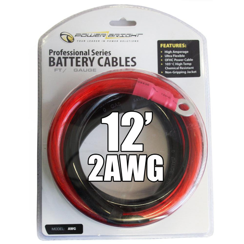Power Bright 2 AWG Gauge 12 ft. Professional Series Inverter Cables ...