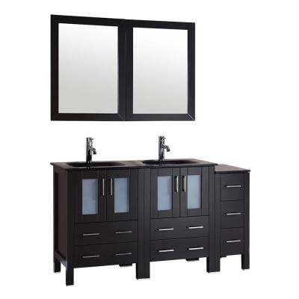 Bosconi 60 in. Double Vanity in Espresso with Vanity Top in Black, Black Basin and Mirror