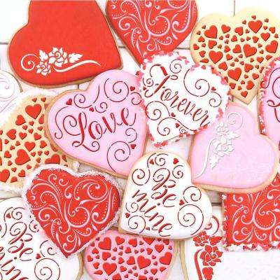 Contemporary Hearts and Love, Be Mine, Forever Hearts Cookie Stencil Bundle (6 Patterns)