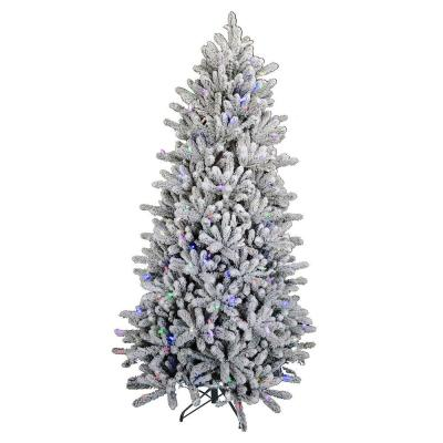 6.5 ft Belgrove Balsam Fir Flocked LED Pre-Lit Artificial Christmas Tree with 360 Color Changing Lights