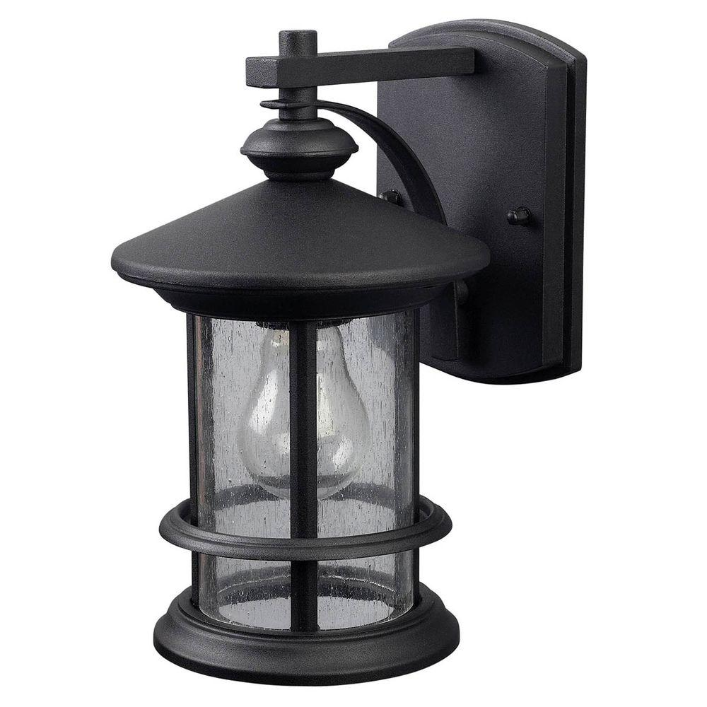 Canarm Ryder 1 Light Black Outdoor Wall Lantern Sconce With Seeded Gl