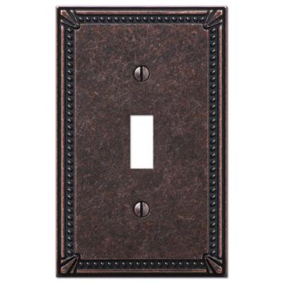 Imperial Bead 1 Gang Toggle Metal Wall Plate - Tumbled Aged Bronze