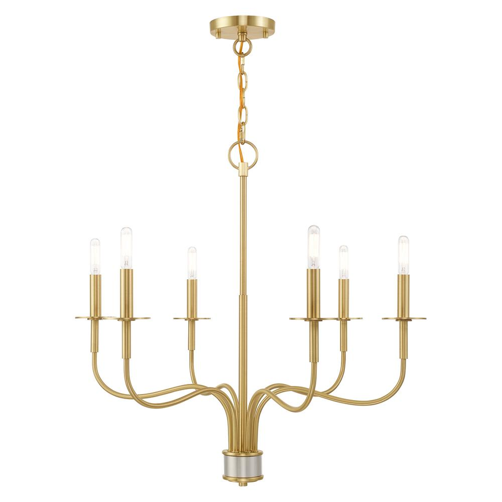 Livex Lighting Lisbon 6-Light Satin Brass Chandelier