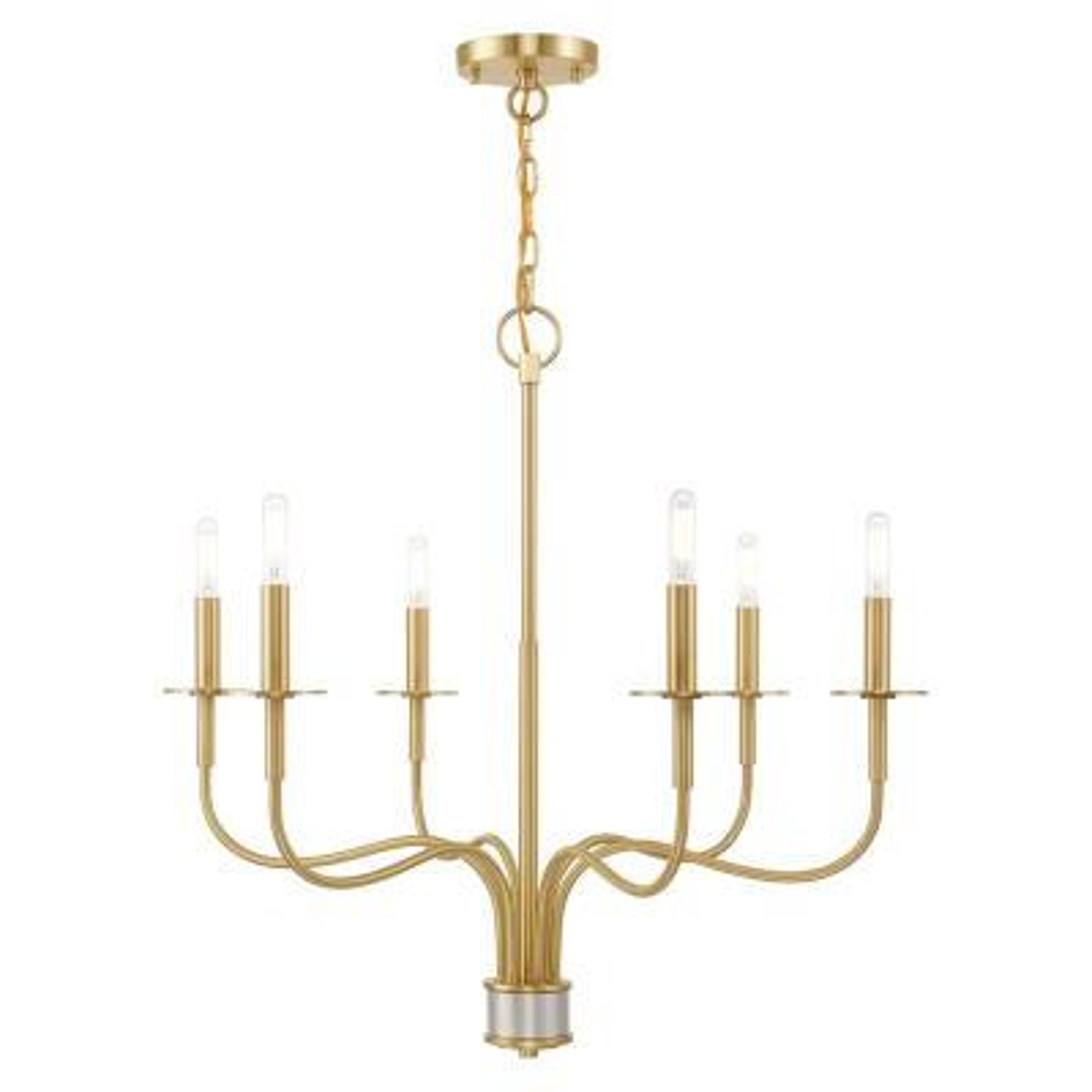Lisbon 6-Light Satin Brass Chandelier