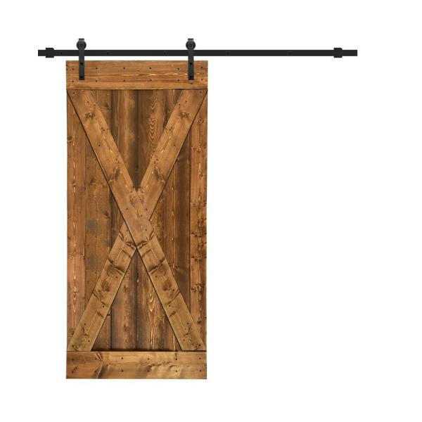 Calhome Distressed X 36 In X 84 In Walnut Stained Solid Knotty Pine Wood Interior Sliding Barn Door With Hardware Kit Swd11 Mk 72 Door Diy X36bt The Home Depot
