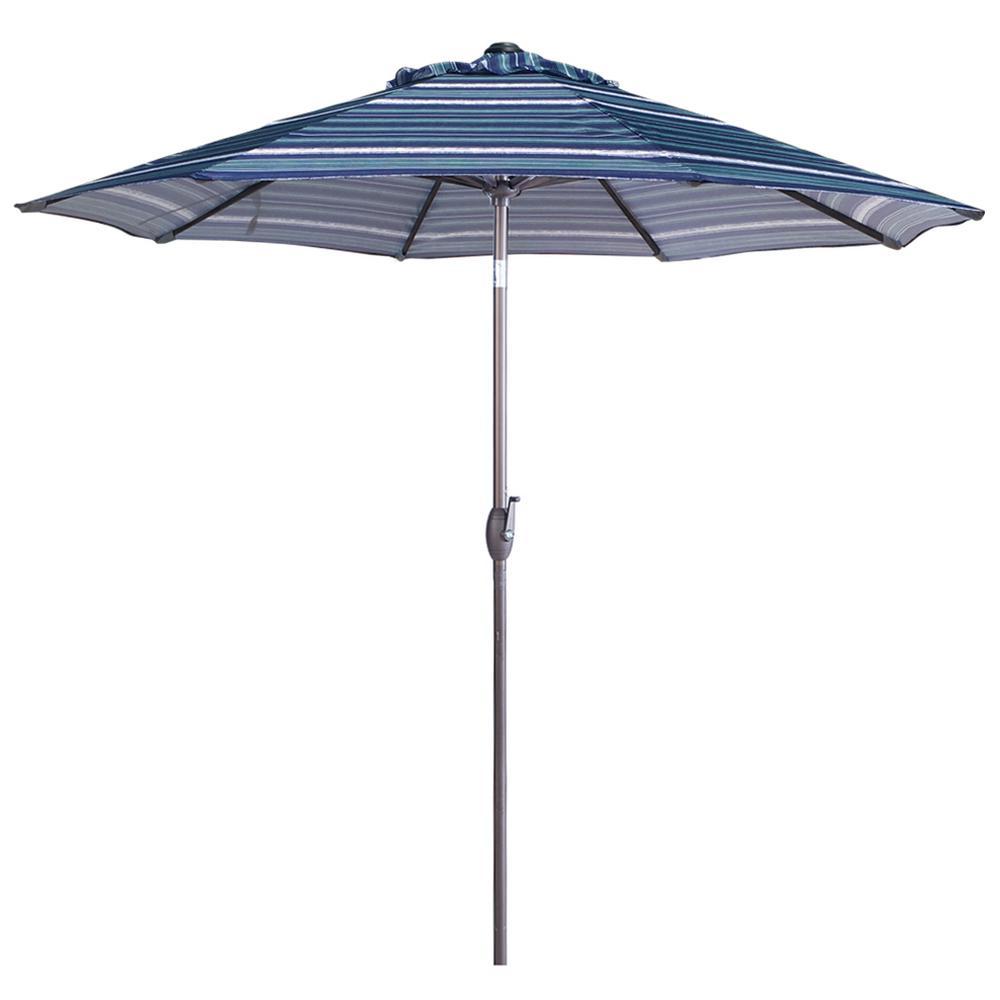 9 ft. Aluminum Market Auto Tilt and Crank Patio Umbrella in Blue Stripe