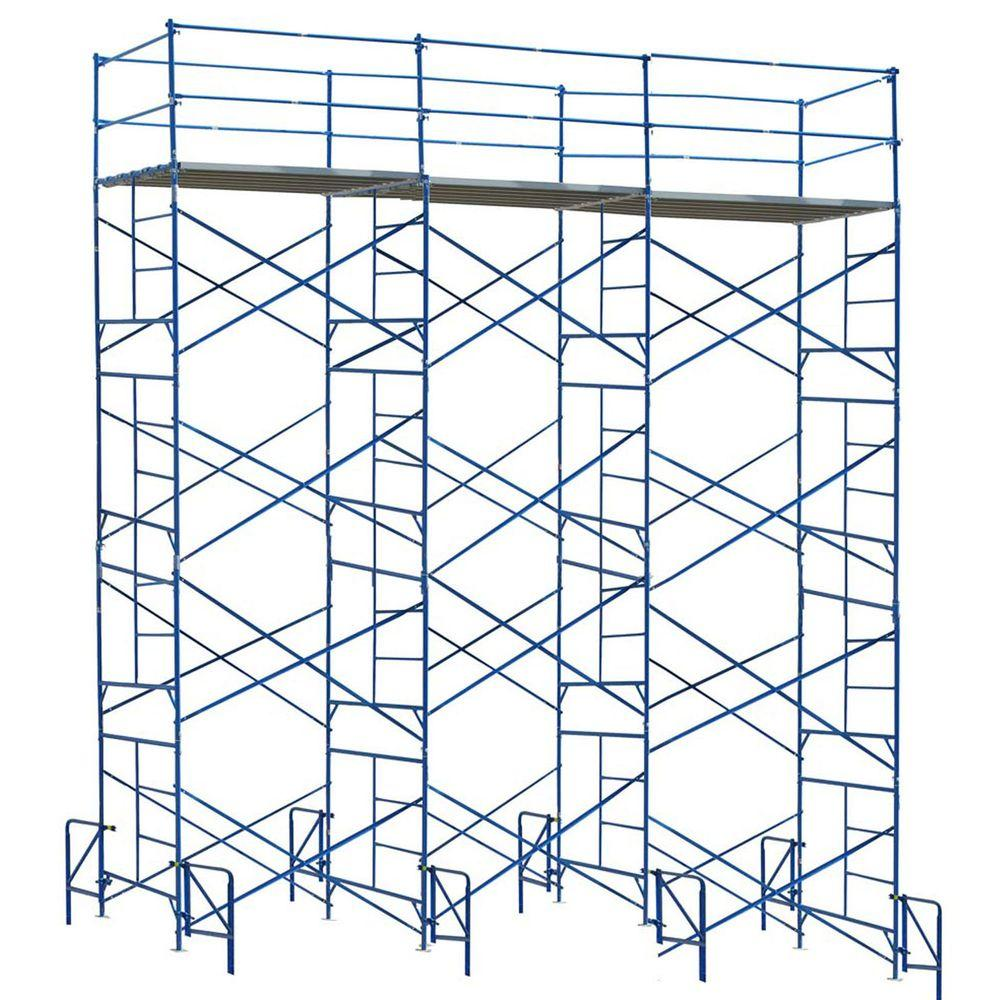 PRO-SERIES 20 ft. x 21 ft. x 5 ft. 4-Story Commercial Grade Scaffolding Set Guard Rail System and Outriggers-DISCONTINUED