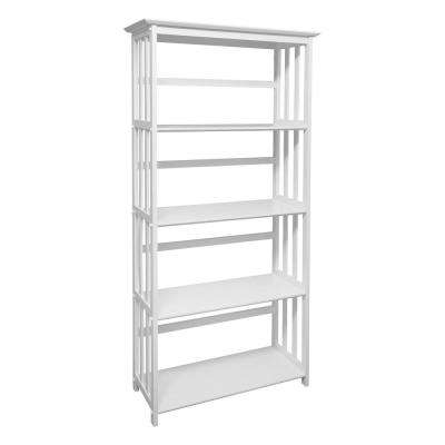 Mission Style White Solid Wood 5-Shelf Bookcase
