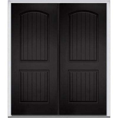 72 in. x 80 in. Classic Left-Hand Inswing 2-Panel Planked  sc 1 st  The Home Depot & Left-Hand/Inswing - Black - Doors Without Glass - Fiberglass Doors ...