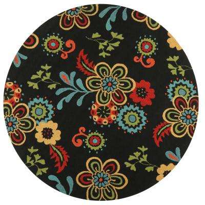 fdaf7cac9eb Tilly Black 8 ft. x 8 ft. Round Indoor Outdoor Area Rug