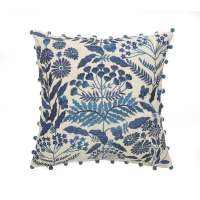 Bohemian Off-White and Navy Floral Soft Poly-Fill 20 in. x 20 in. Throw Pillow