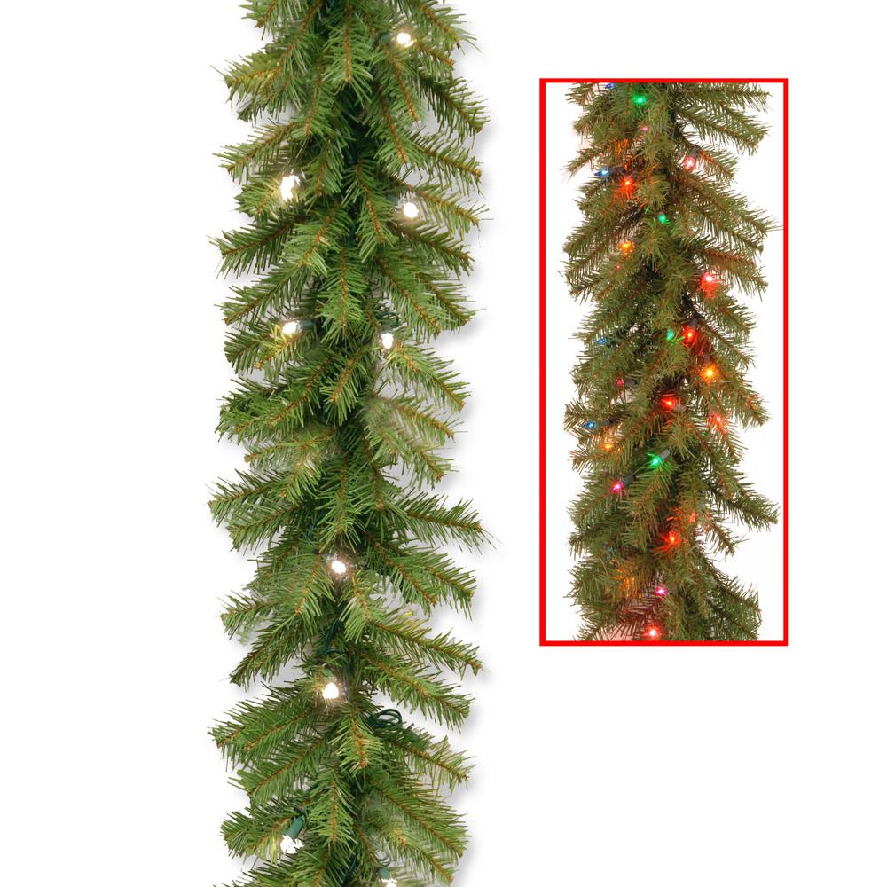 garland with battery operated dual color led lights