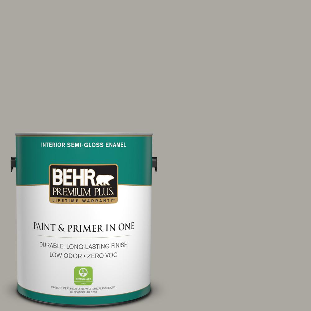 1-gal. #N360-3 Still Gray Semi-Gloss Enamel Interior Paint