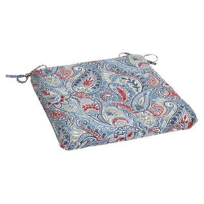 Denim Paisley Rectangle Outdoor Seat Cushion