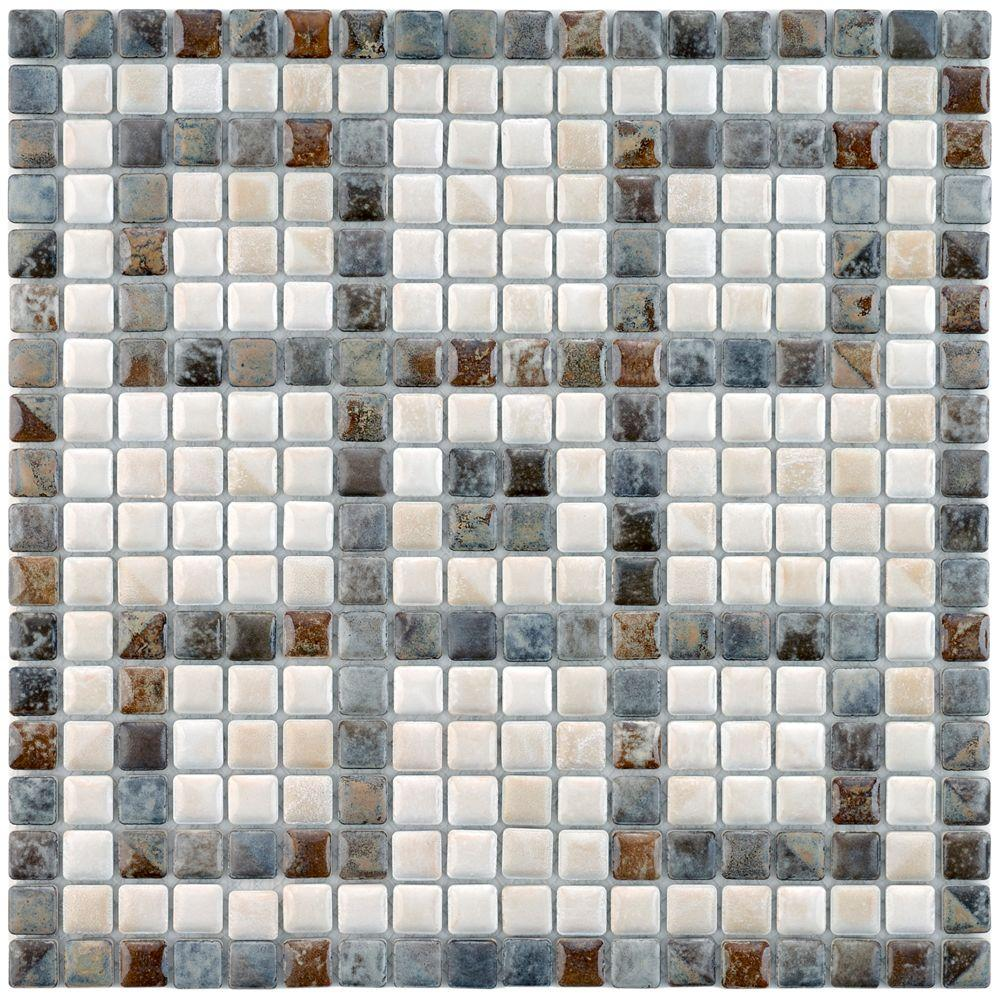 Merola Tile Rustica Mini Greek Key Perla 12 1 8 In X