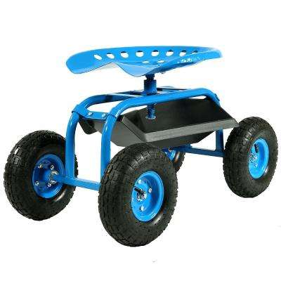 Blue Steel Rolling Garden Cart with 360-Degree Swivel Seat and Tray