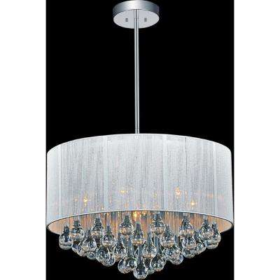Water Drop 6-Light Chrome Chandelier with White shade
