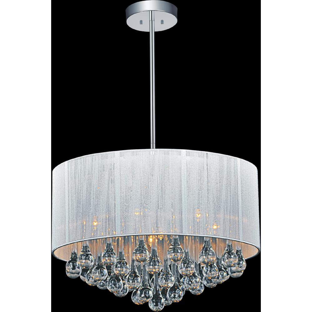 Cwi Lighting Water Drop 6 Light Chrome Chandelier With White Shade