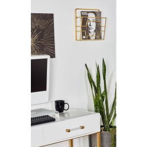 Gold Wall Mounted Magazine Rack by
