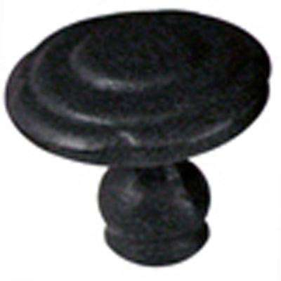 1 in. Black Rosette Cabinet Knob (Set of 5)