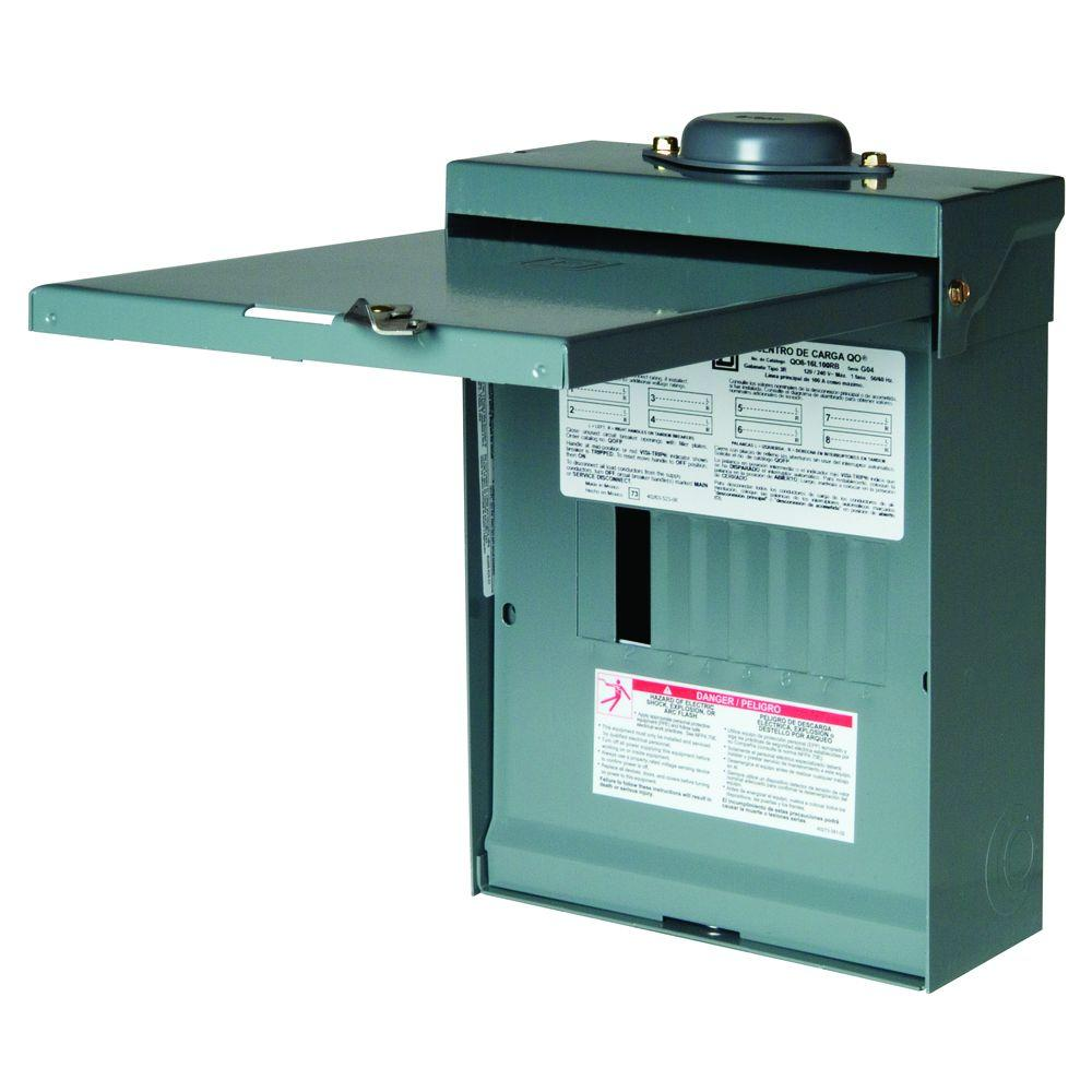 Square D QO 100 Amp 8-Space 16-Circuit Outdoor Main Lug Load Center with Cover