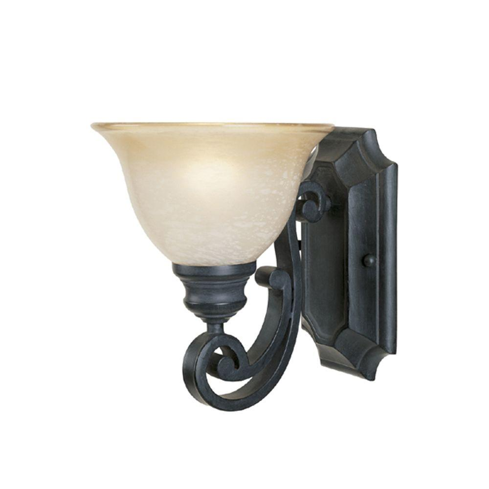 Designers fountain monte carlo 1 light natural iron wall sconce designers fountain monte carlo 1 light natural iron wall sconce 96101 ni the home depot arubaitofo Image collections