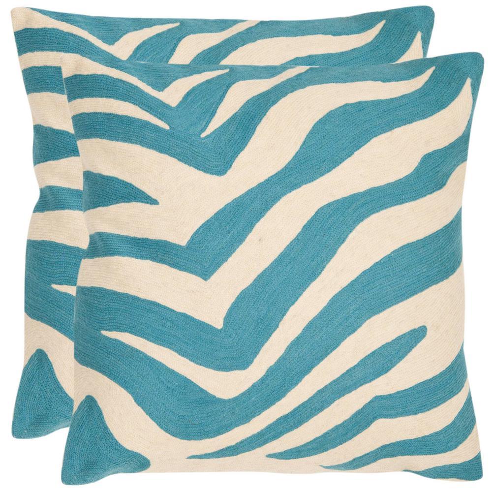 Urban Spice Blue Ra Animal Print Down Alternative 18 in. x 18 in. Throw Pillow (Set of 2)