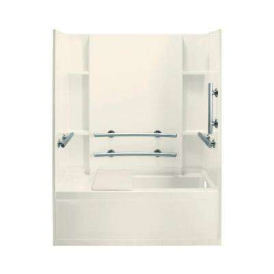 Accord 32 in. x 60 in. x 74 in. Bath and Shower Kit in Biscuit