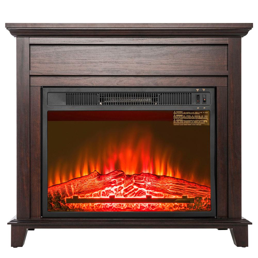 Freestanding Electric Fireplace Heater In Black With Tempered Gl Log