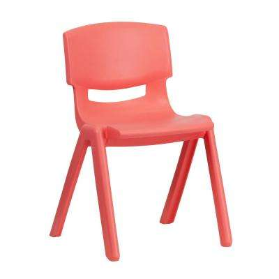 Red Plastic Stackable School Chair with 13.25 in. Seat Height