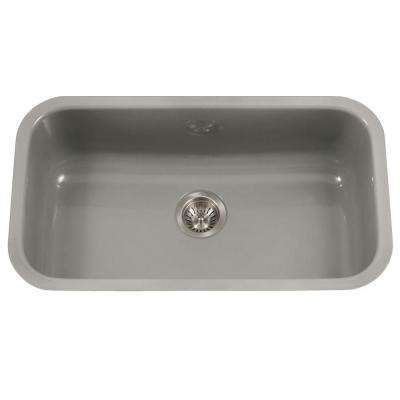 Porcela Series Undermount Porcelain Enamel Steel 31 in. Large Single Bowl Kitchen Sink in Slate