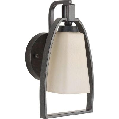 Ridge Collection 1-Light Espresso Wall Sconce with Etched Watermarked Glass