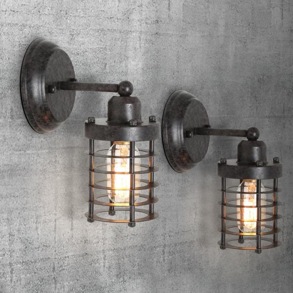 Lnc Industrial 1 Light Rustic Black Wall Sconce Modern Farmhouse Mini Wall Mount Light With Open Cage Shape A03481 The Home Depot