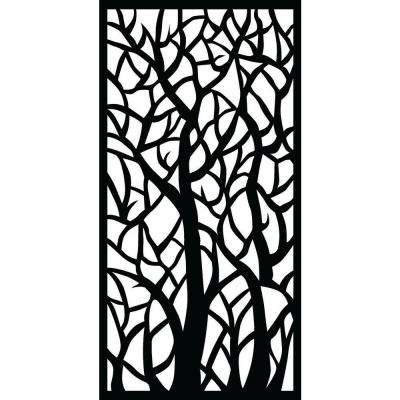 Woodland 0.3 in. x 71 in. x 2.95 ft. Recycled Plastic Decorative Screen in Slimline Frame in Charcoal (Bundle of 5)