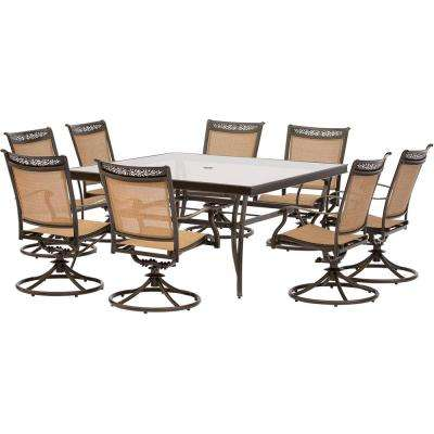 Fontana 9-Piece Aluminum Square Outdoor Dining Set with Swivels and Glass-Top Table
