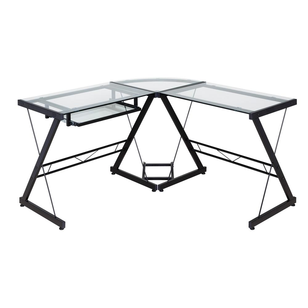 Onespace Ultramodern Glass Black And Clear L Shape Desk