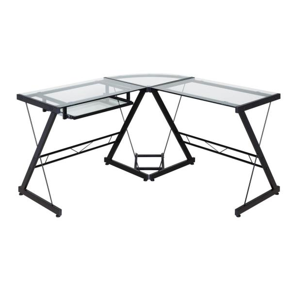 OneSpace Ultramodern Glass Black and Clear L-Shape Desk 50-JN110500