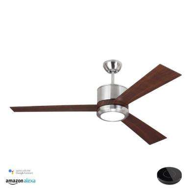 Vision 52 in. LED Brushed Steel Ceiling Fan with Light Kit Works with Google Assistant and Alexa
