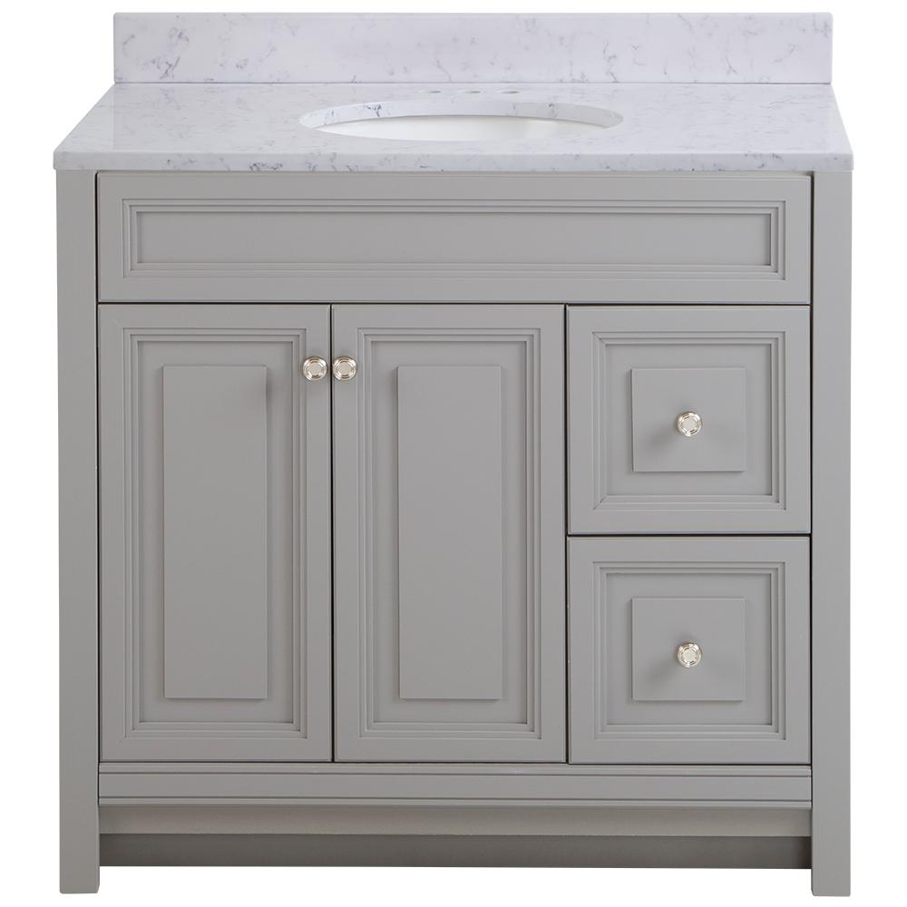 Home Decorators Collection Brinkhill 37 in. W x 22 in. D Bathroom Vanity in Sterling Gray with Stone Effect Vanity Top in Pulsar with White Sink