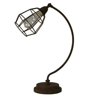 Caged Desk 21 in. Bronze Table Lamp with Steel Shade
