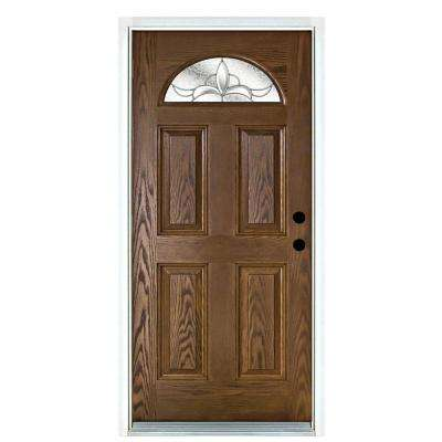 36 in. x 80 in. Andaman Medium Oak Left-Hand Inswing Fan Lite Decorative Fiberglass Prehung Front Door