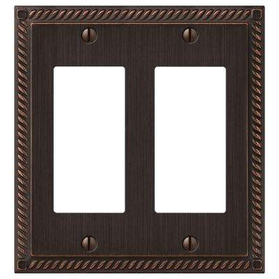 Georgian 2-Gang Decora Wall Plate - Aged Bronze