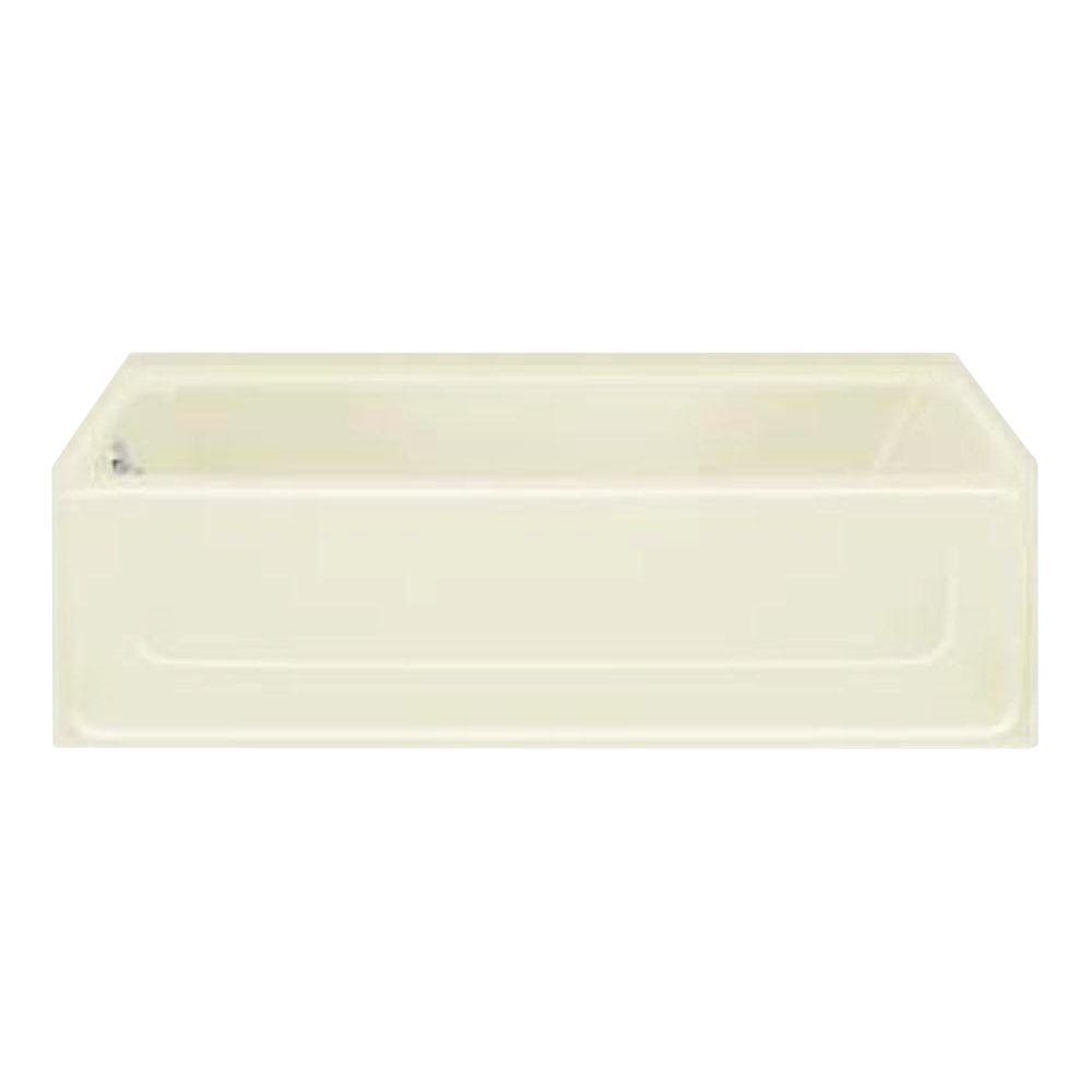 All Pro 5 ft. Left Drain Rectangular Alcove Bathtub in Biscuit
