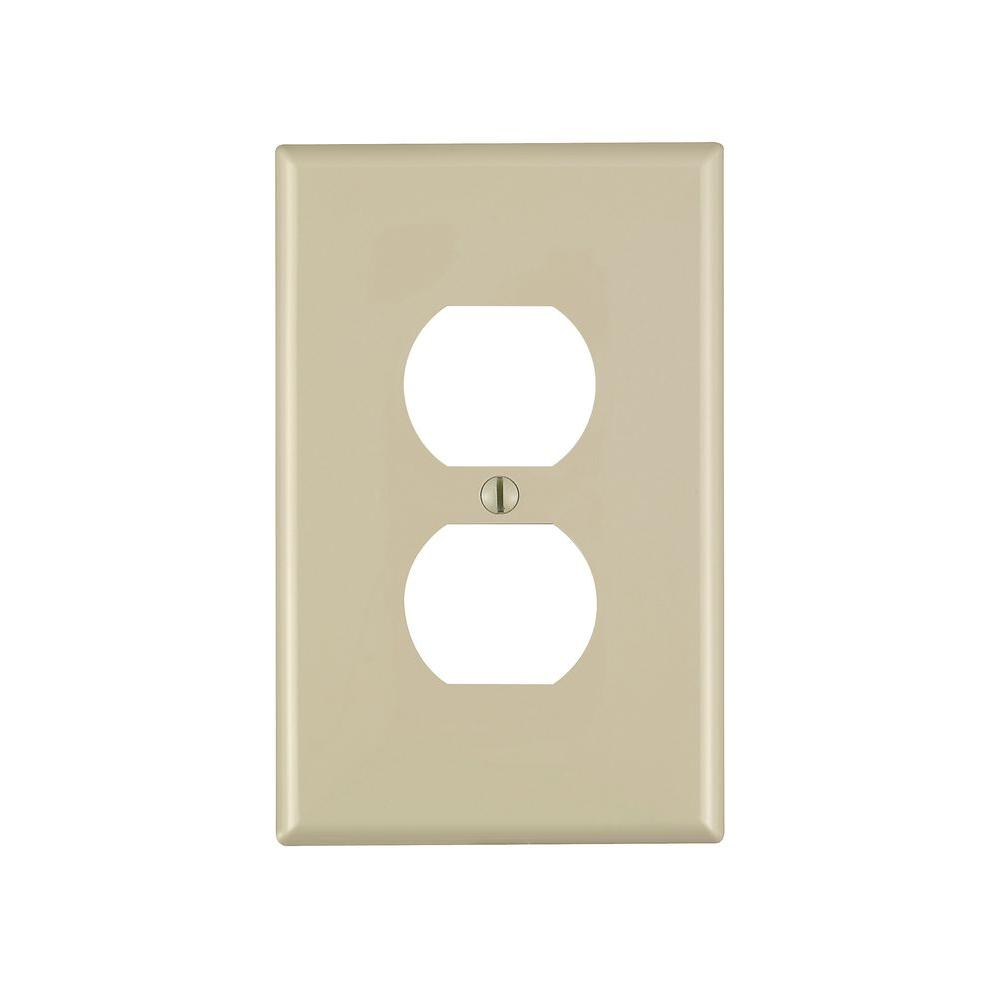 Leviton 1-Gang Midway Duplex Outlet Nylon Wall Plate, Ivory